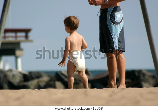 A toddler at the beach