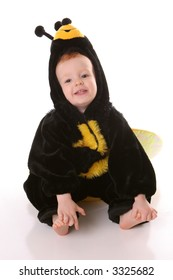 toddler in bee suit