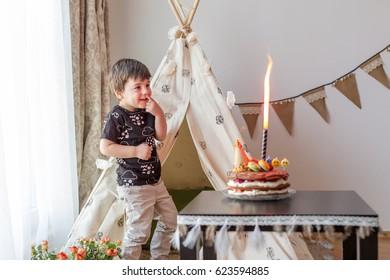 Toddler Boy 3 Year Old Enjoying The Burning Candle On His Birthday Cake