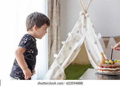 Toddler Boy 3 Year Old Waiting For His Birthday Candles To Be Lit