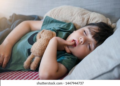 Toddler boy biting his finger nails while sleeping on sofa, Emotional child portrait, Child putting finger in his mouth lying on cooch, Kid taking a peaceful nap