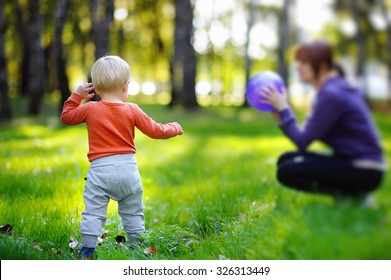 Toddler boy with his young mother playing with ball at sunny park