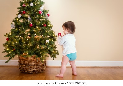 Toddler boy playing under the Christmas tree