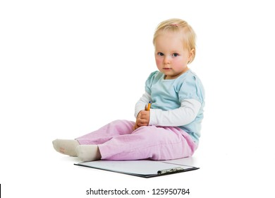 Toddler with a clipboard isolated on white