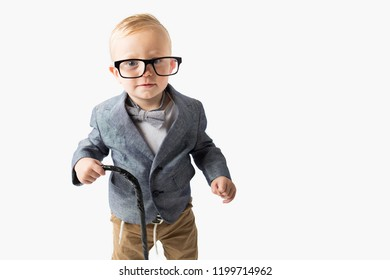 Toddler dressed up as an old man