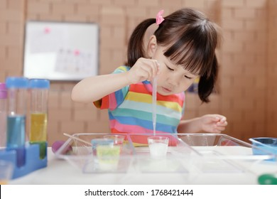 toddler girl  play science experiments for homeschooling