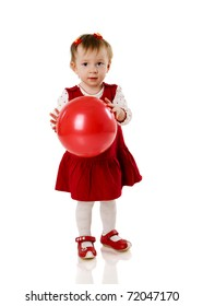 Toddler girl playing with ball isolated on white