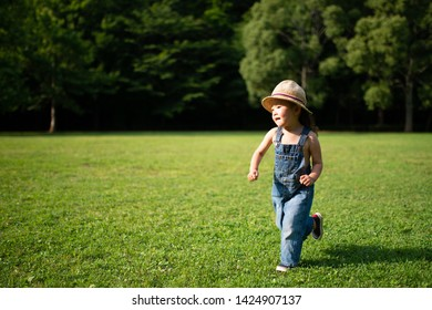 Toddler girl running in the meadow