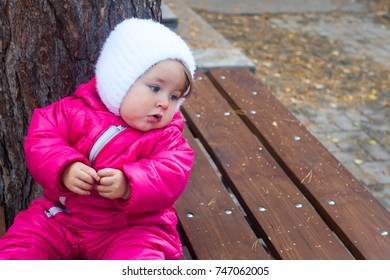 Toddler girl sitting on wooden bench in autumn park, copy space