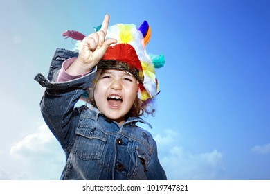 Toddler Girl Wearing Indian Headdress Stock Photo Edit Now