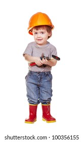 Toddler in hardhat with tools. Isolated over white background