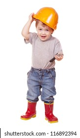 Toddler in hardhat with wrench. Isolated over white background