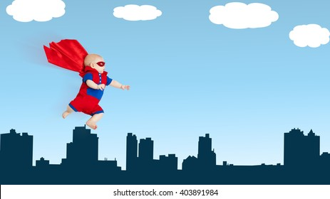 toddler little baby superhero with a red cape flying through sky above the city