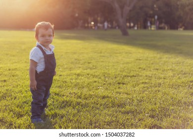 Toddler looking up while posing in green meadow during sunset with warm colors