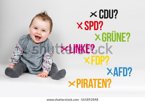 Toddler next to various german parties for german federal election 2017