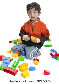 Toddler Playing with Blocks, Isolated, White