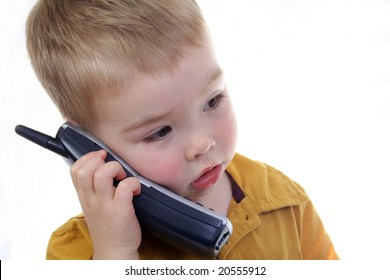 Toddler talking on the phone