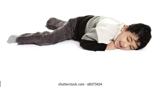 Toddler Throwing a Tantrum, Isolated, White