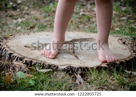 a toddlers feet standing on a log