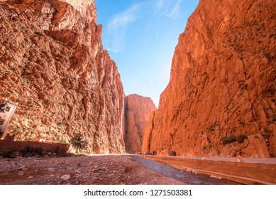Todgha Gorge or Gorges du Toudra is a canyon in High Atlas Mountains near the town of Tinerhir, Morocco . A series of limestone river canyons, or wadi and neighbor of Dades Rivers