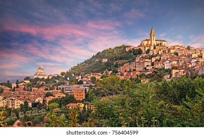 Todi, Perugia, Umbria, Italy: landscape at dawn of the medieval hill town
