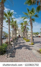 Todos Santos Baja California Sur/MEXICO. Jul-27-2017: Park near Todos Santos Mission sourrounded by palm trees on a sunny day of summer