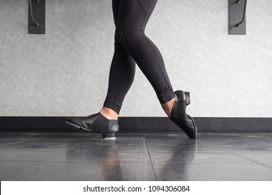 Toe Heel stand in tap shoes during dance class
