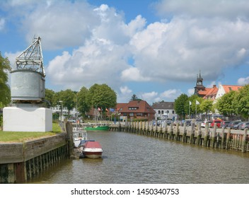 Toenning in North Frisia at Eider River,Schleswig-Holstein,Germany
