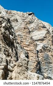Tofana di Mezzo Via Ferrata in Cortina d'Ampezzo Dolomites. Cabin Cable car Station, View from Punta Anna via ferrata. Big rocky mountains in Dolomites, Italy. Climbing on the rocks in the mountains