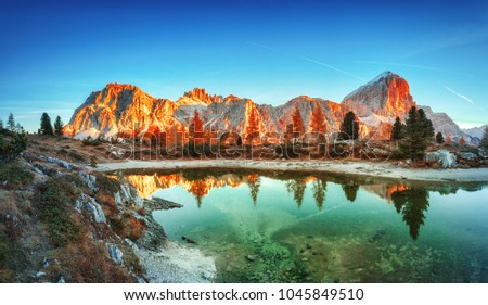 Tofana di Rozes mountain ridge. Region Trentino Alto Adige, South Tyrol, Veneto, Italy. Dolomite Alps, famous travel destination in Europe. Vicinity of village Cortina D'Ampezzo and lake Limides.