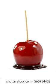 Toffee apple on white background.