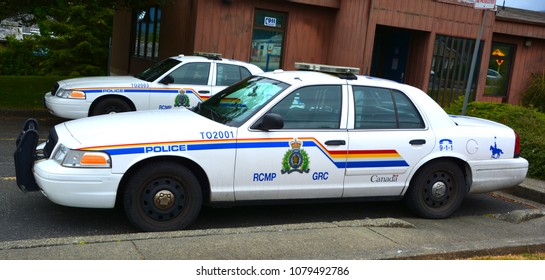 TOFINO BC CANADA JUNE 17 2015: Tofino RCMP police car. Royal Canadian Mounted Police known as the Mounties, and internally as 'the Force') is both a federal and a national police force of Canada.