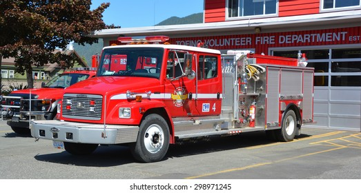 TOFINO BC CANADA JUNE 17 2015: Truck of Tofino Volunteer Fire Department, established in 1959, provides fire protective and emergency services to the community of Tofino,