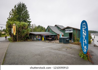Tofino, British Columbia, Canada September 22, 2018 - Long Beach surf shop is a popular shop for new surf gear, rentals & lessons on Vancouver islands west coast near Pacific Rim National Park Reserve