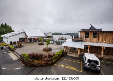 Tofino, British Columbia, Canada September 22, 2018 -View from Tofino Resort and Marina that includes lodging, guided tours, a pub & a restaurant, 1909 Kitchen, which uses locally foraged ingredients