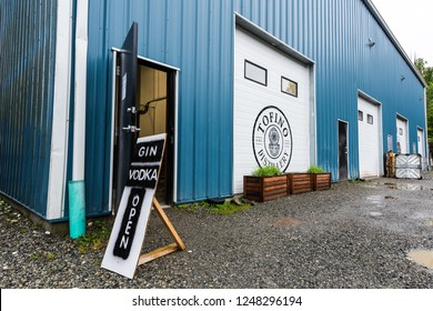 Tofino, British Columbia/Canada - September 20, 2018: Front entrance to Tofino Distillery, which makes craft vodka & gin as well as infused variations in Tofino on the west coast of Vancouver Island