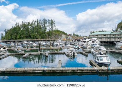 TOFINO, CANADA, JULY 4, 2016: Tofino harbour on the west coast of Vancouver island