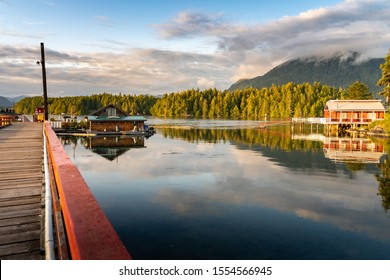Tofino Harbour, Vancouver Island. British Columbia, Canada. Clayoquot Sound Inlets on background and red dock house on foreground.