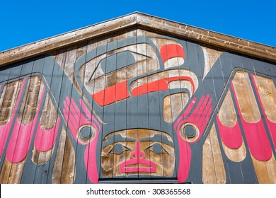 Tofino, Vancouver Island, BC August 13, 2015 - Beautiful First Nations art on front of the Eagle Aerie Gallery, which is owned, operated & showcases traditional artwork by artist Roy Henry Vickers.