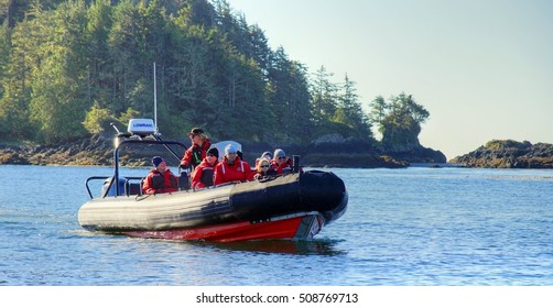 TOFINO, VANCOUVER ISLAND, CANADA - 21 / 09 / 2016 ; While sitting in a open style boat you can go whale watching and book nature viewing tours in Clayoquot Sound