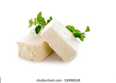 tofu cheese on white background