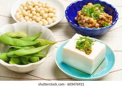 Tofu, edamame, natto and soy beans