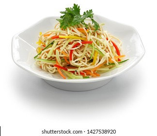 Tofu noodle salad chilled and dressed with sauce, chinese vegan cuisine