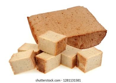 tofu pieces on white background