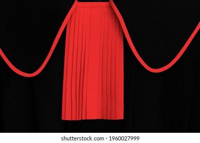 toga of a public prosecutor, a Polish prosecutor with a red ruffle, closeup, polish lawyer