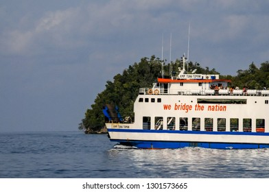 TOGEAN ISLANDS, SULAWESI - OCT 30,2009 : a scheduled ferry navigates the route from Ampana, the Togean Islands and Gorontalo, in Sulawesi on October 30, 2009.