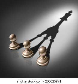 Together success and joining business concept for team leadership strategy as three chess pawn pieces casting a shadow shaped as the king for teamwork partnership and successful group planning .