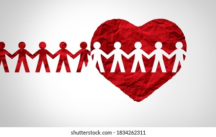 Together united support concept and unity partnership as a heart with a group of people connected together shaped as a support symbol expressing the feeling of teamwork and togetherness.