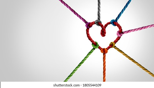 Together and unity concept or love partnership as diverse ropes connected as a heart for cooperation and working collaboration.