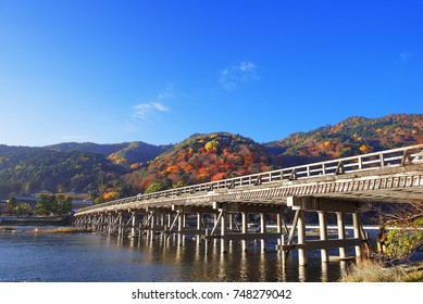 The Togetsukyo Bridge, Arashiyama, Kyoto, Japan, in autumn.